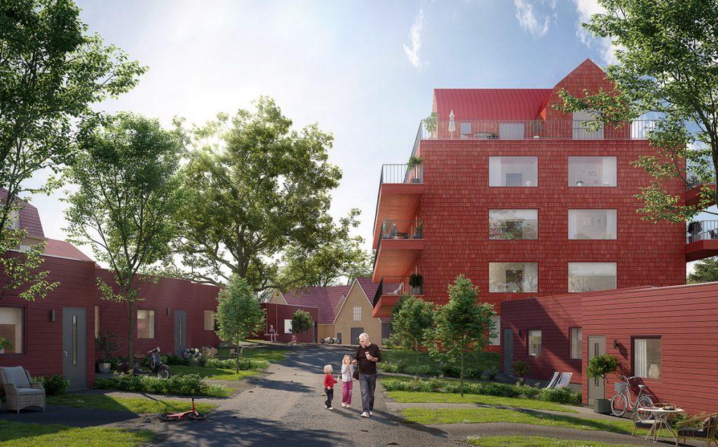 3D-visualisering på gatuvy av Villa Fehr