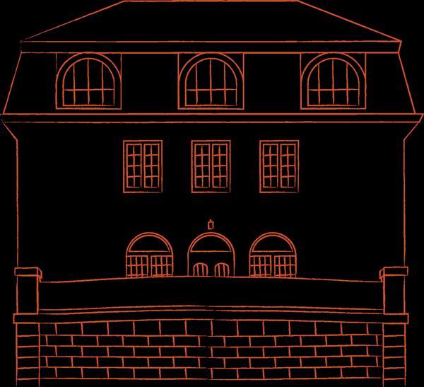 Linjeteckning av byggnaden Villa Fehr